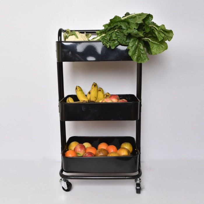 Movable Kitchen 3 Tier Stainless Steel rack black