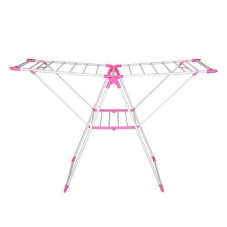 Outdoor Portable Cloth Hanger Pink Steel And Plastic