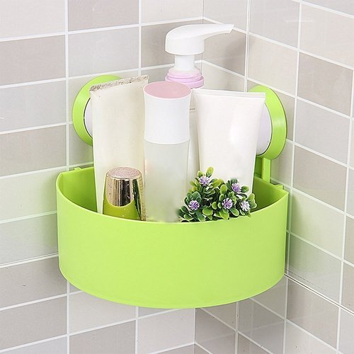 Plastic triangle bathroom suction shelves green