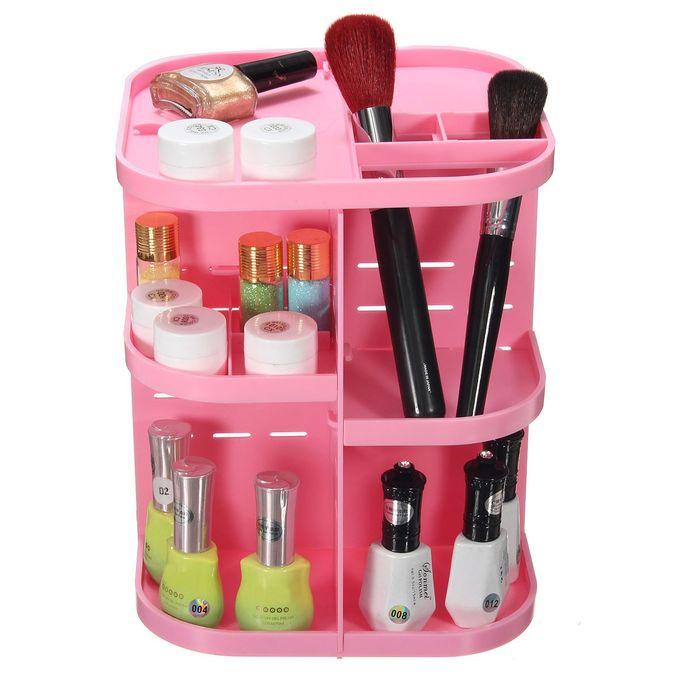 Rotating plasic cosmetic organizer pink