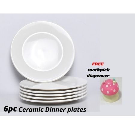 Round White Ceramic 10 Inch Dinner Plates 6 Pc