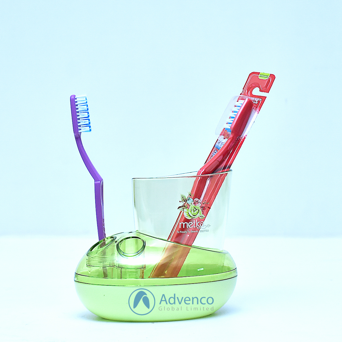 Toothbrush Holder 3 Holes Green Acrylic