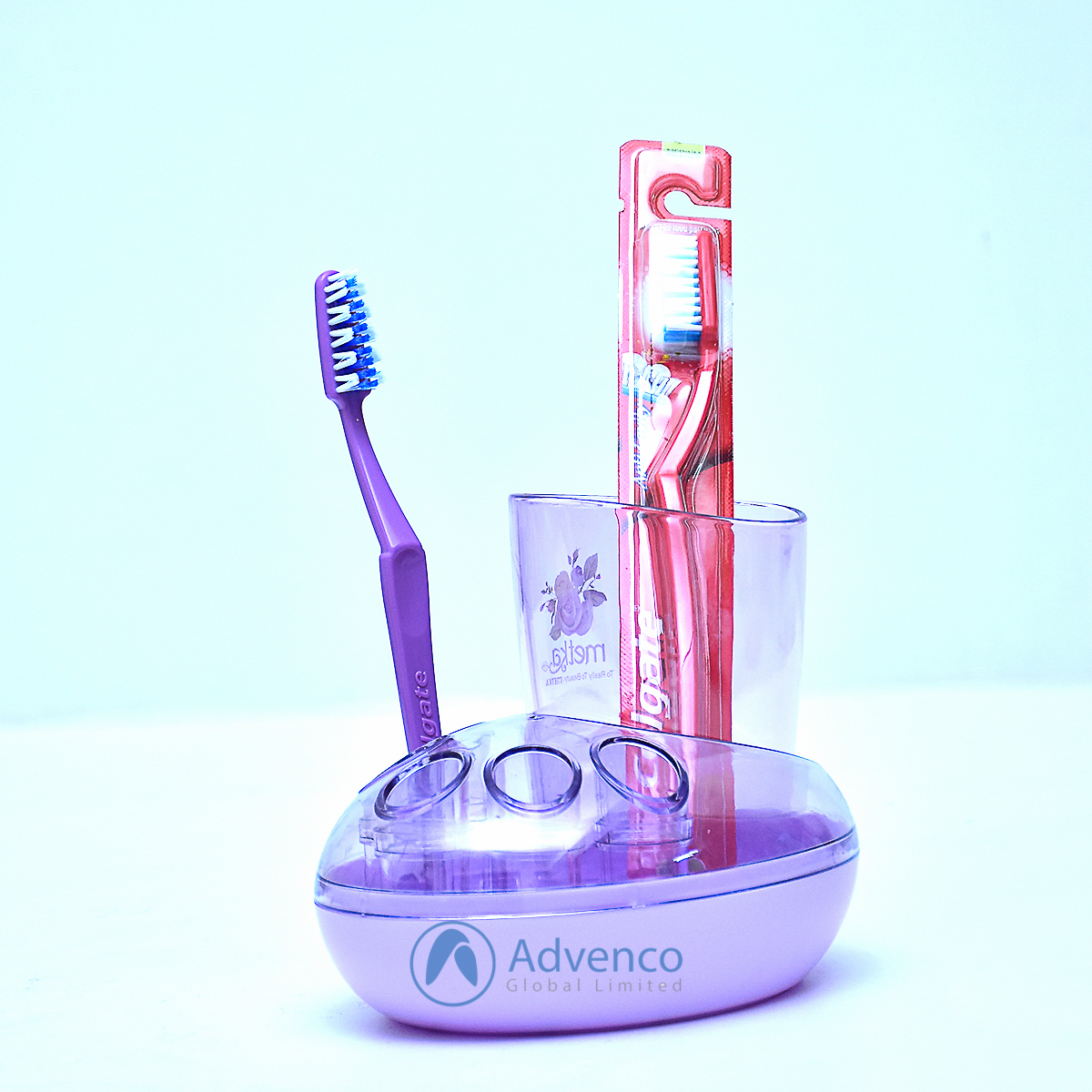 Toothbrush Holder 3 Holes Purple Acrylic
