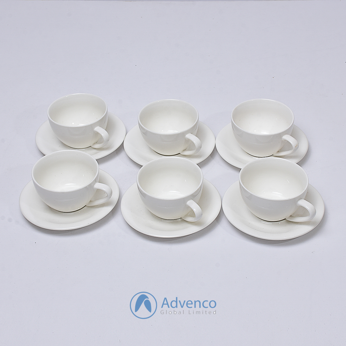 White Saucer for cappuccino small 6 pcs