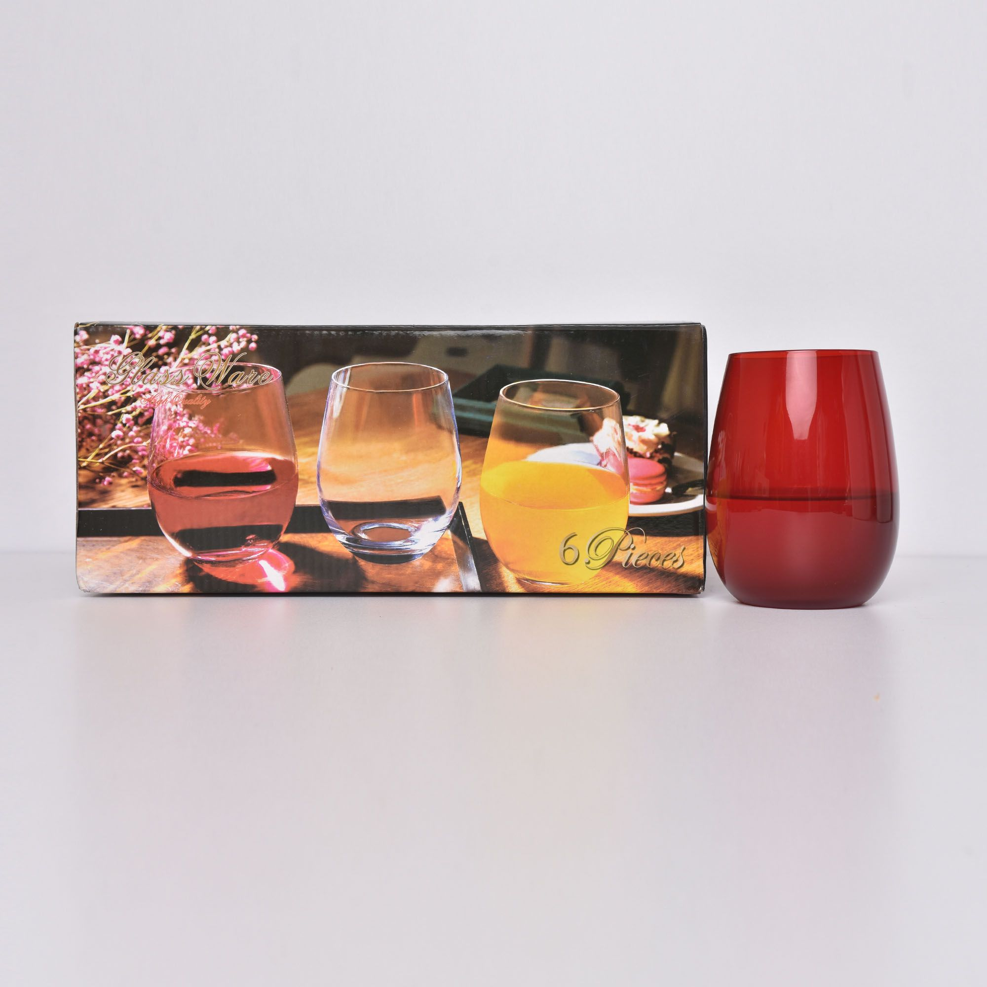 Coloured oval wine glass