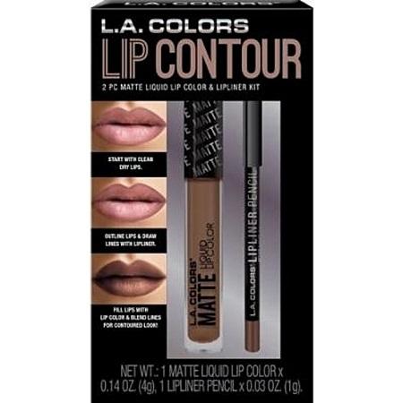 L.A. Colors 2 pc Matte Liquid Lip Color & Lipliner Kit - Nude