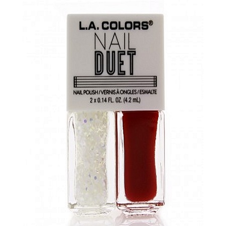 L.A. Colors Nail Duet Nail Polish & Glitter - Fire & Ice