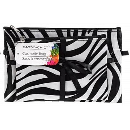 L.A. Colors Zippered Cosmetic Bags 2-ct Packs - Zebra Print