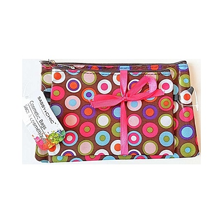 L.A. Colors Zippered Cosmetic Bags 2-ct Packs - Brown/Pink