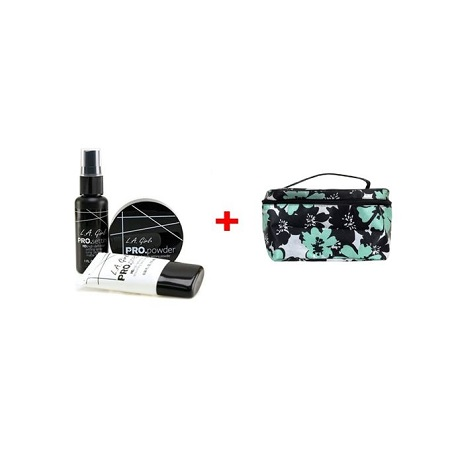 L.A Girl Basic Face Cosmetics Combo (3pcs Set - Pro Smoothing Face Primer, Pro Setting Spray, HD Pro Setting Powder), 4 Oz.