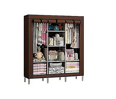 3 Column Portable Wardrobe - Brown