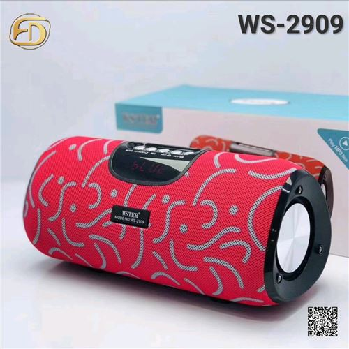 Wester WS-2909 Red Wireless Bluetooth Speaker Stereo Bass USB/TF/AUX MP3 Portable