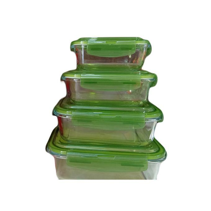 Signature 4PCS Borosilicate Glass Food Storage Containers with Snap Locking Plastic Lid