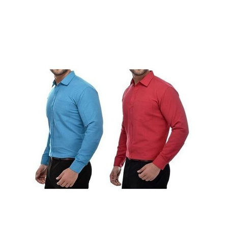 2 Pack Men Official Shirts 100% Cotton Blue and Maroon