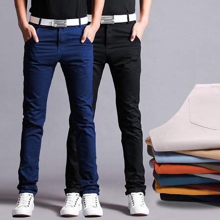 2 Slim Fit Khaki Trousers for Gentlemen+Free pair of socks