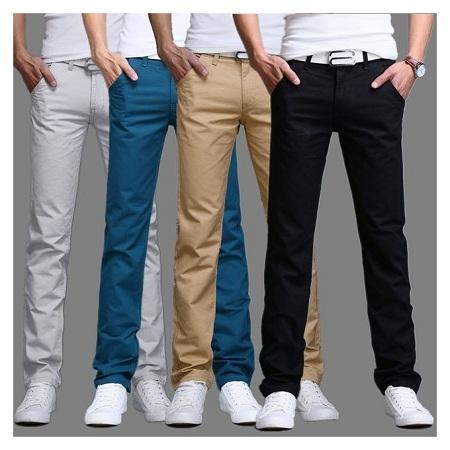 4 Slim Fit Khaki Trousers for Gentlemen+Free pair of socks