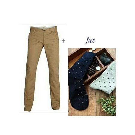 Beige Men's Khaki Pants + free two pairs of socks any color