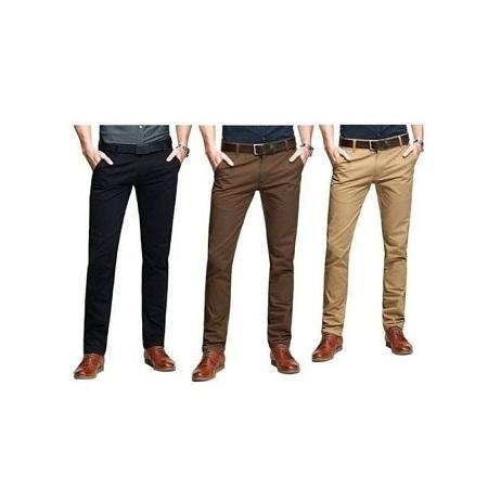 3 Pack Soft Khaki Pants Slim Fit with free pair of socks