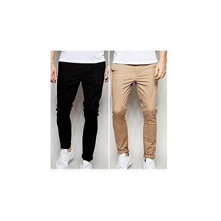 Khaki Trouser 4 pack, Slim Fit Black, Brown, Beige, Off-White