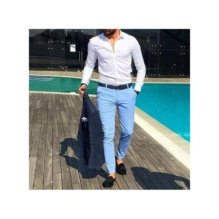 Men's Khaki Pants Sky Blue Slim-fit Khaki