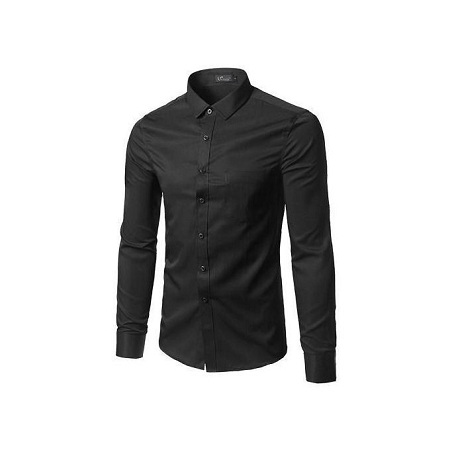 Men Official Shirt Slim Fit 100% Cotton Black