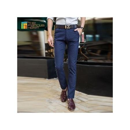 Navy blue slim fit khakis