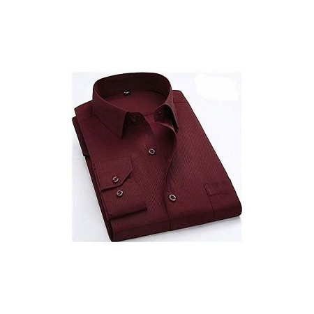 Official Slim Fit Shirt Maroon Turkey Style Long Sleeve