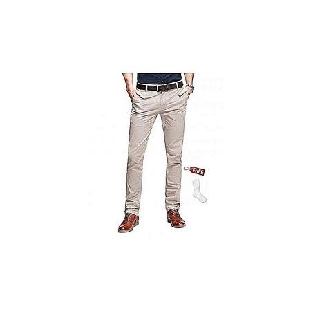 Off-White khaki Trouser+Free Pair of socks