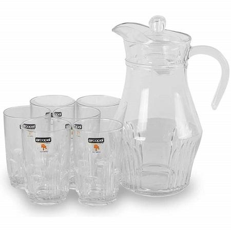 Arcopal Juice/Water Glasses Jug Set - 7pcs