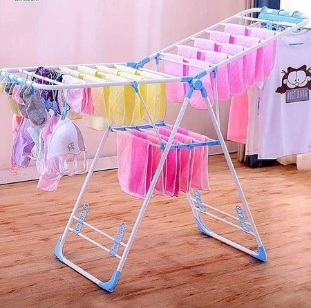 Foldable Outdoor Clothes Drying Rack Garments Clothes Hanger Rack- Blue