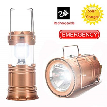 Solar Bright LED Outdoor Recharge For Home, Camping Tent Light Lantern Hiking Fishing Lamp (Gold) normal medium