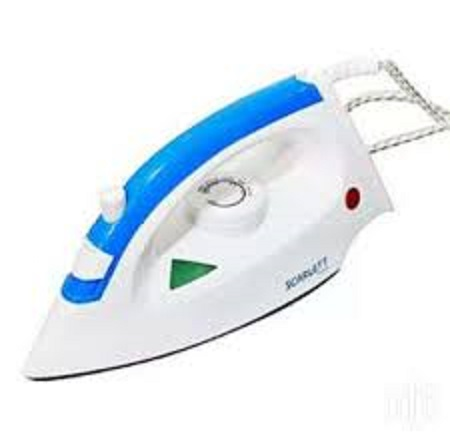 scarlet steam iron box white and blue