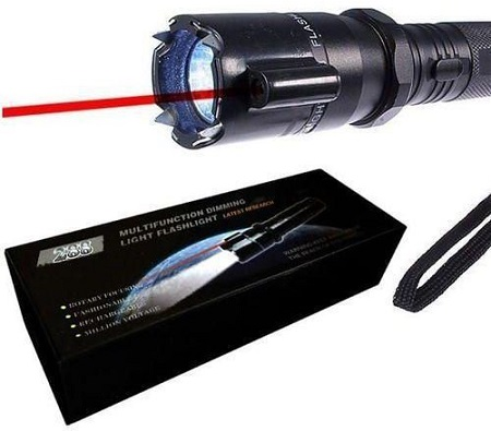 self defense police torch with electric shock and laser pointer black