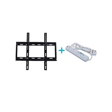 tv wall mounting bracket for 26 - 63 inch tv plus 4way heavy duty extension white and black
