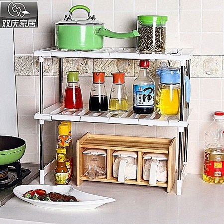 Microwave Oven Stand organizer white&silver expandable