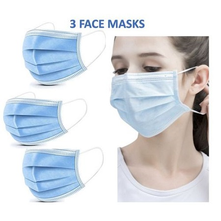 3-Ply Bacterial Filter Disposable Face Masks - 3 Pieces