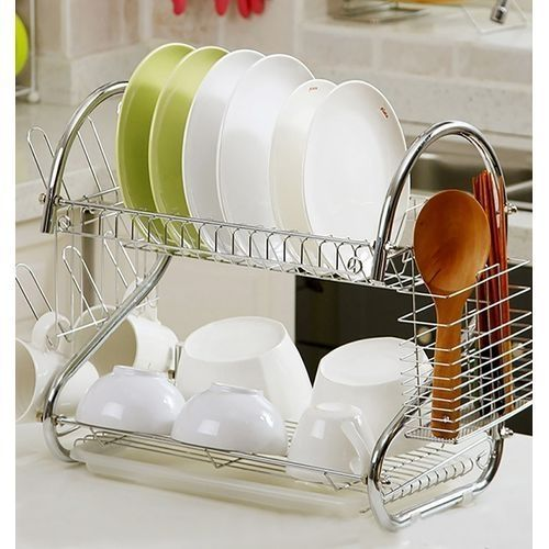 2 Tier Dish Rack Stainless Steel, With Drain Board
