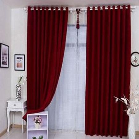 Maroon Curtain (5M) (2Panels,each 2.5M) PLUS FREE WHITE SHEER