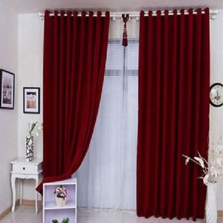 RED Curtain (2M) (2Panels,each 1M) + FREE WHITE SHEER