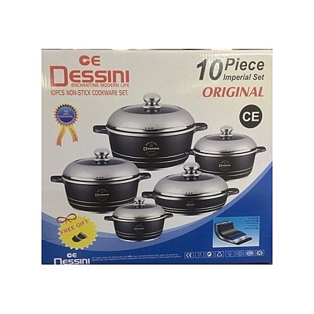 Dessini Non-Stick Cooking Pots - 10 Pieces - Grey
