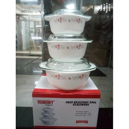 Redberry 3 Pcs Casseroles With Clear Glass Lids