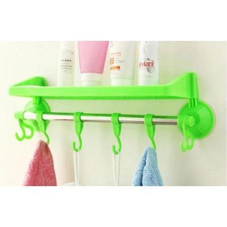 Bathroom shampoo holder with hooks