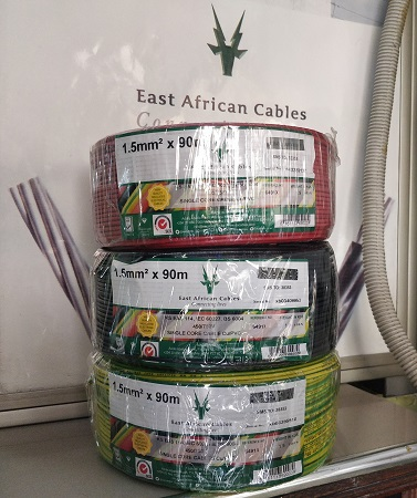 East African Cables 1.5mm Single Core Cable Cu/PVC 90m- Set of 3