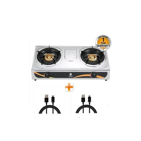 Nunix Stainless Steel 2 Burner Gas Stove + Two Free Android Cables