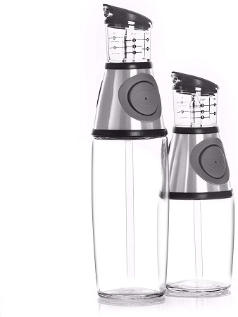 Belwares Olive Oil Dispenser Bottle, Oil and Vinegar Cruet with Drip-Free Spouts-1 piece, long bottle only 500ml