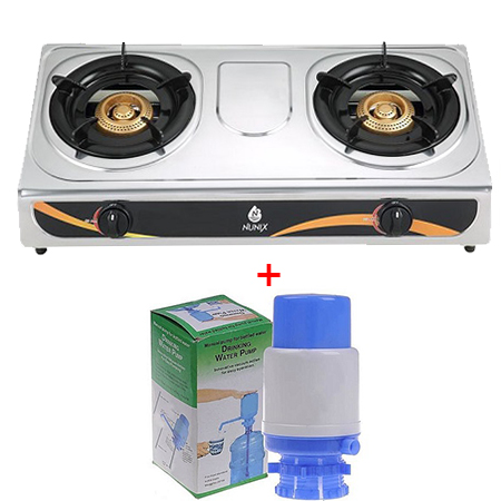 Nunix Stainless Steel Table Top Gas Cooker with water pump/ water hand press package
