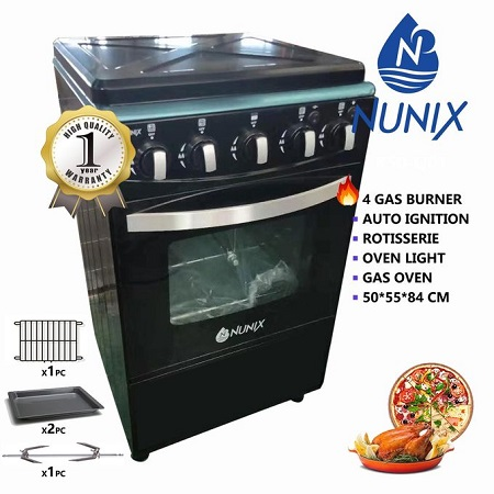 Nunix K50-Y01 - 3Gas + 1Hot Plate 50*55cm Free Standing Cooker