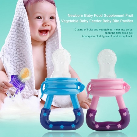 HP Newborn Baby Food Supplement Fruit Vegetable Baby Feeder Baby Bite Pacifier blue