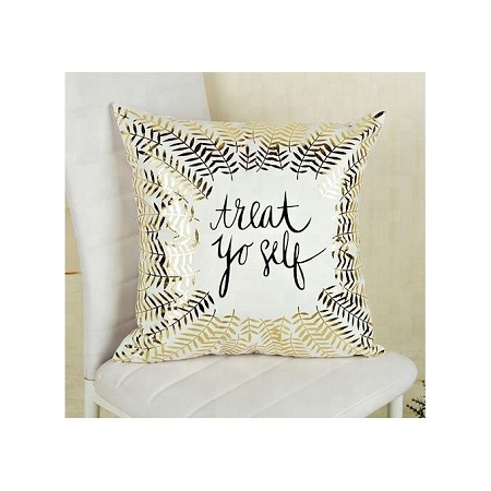 Decorative White And Gold Throw Pillow Covers