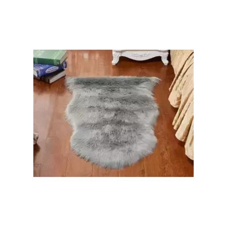 Grey Faux Fur Bedside Rug